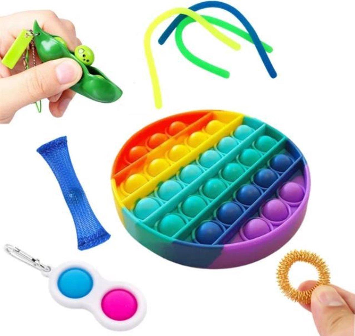 LUVIQ Fidget Toys Pakket - Fidget Toys Set - POP IT - Simple Dimple - Pea Popper - Mesh and Marble -
