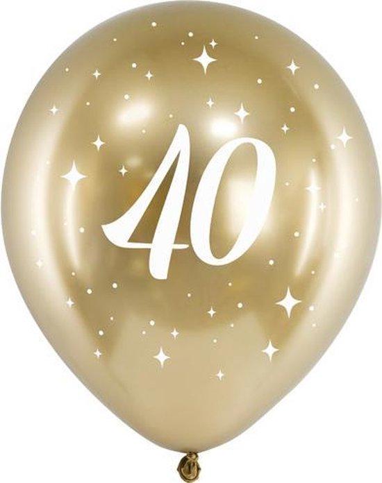 Glossy ballonnen gold 40 jaar (6 stuks)