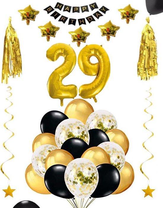 29 jaar verjaardag feest pakket Versiering Ballonnen voor feest 29 jaar. Ballonnen slingers sterren opblaasbare cijfers 29