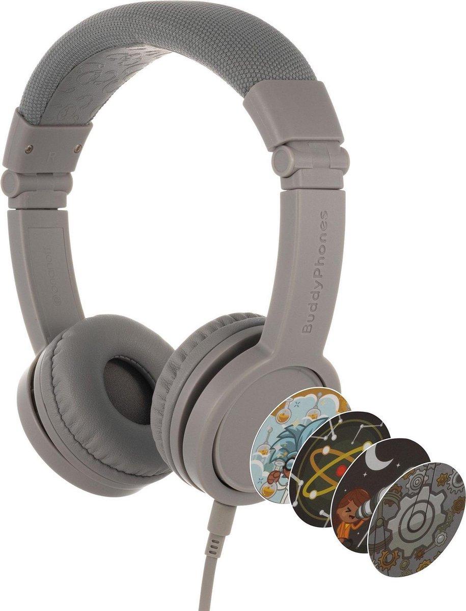 BuddyPhones Explore+ - kindvriendelijke on-ear koptelefoon - geluidsbegrenzing, audio splitter, meegeleverde stickers, grijs