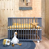 Cabino Babybox Inklapbaar Met In Hoogte Verstelbare Bodem - Kinderbox - Babybox Met Wielen - Grijs