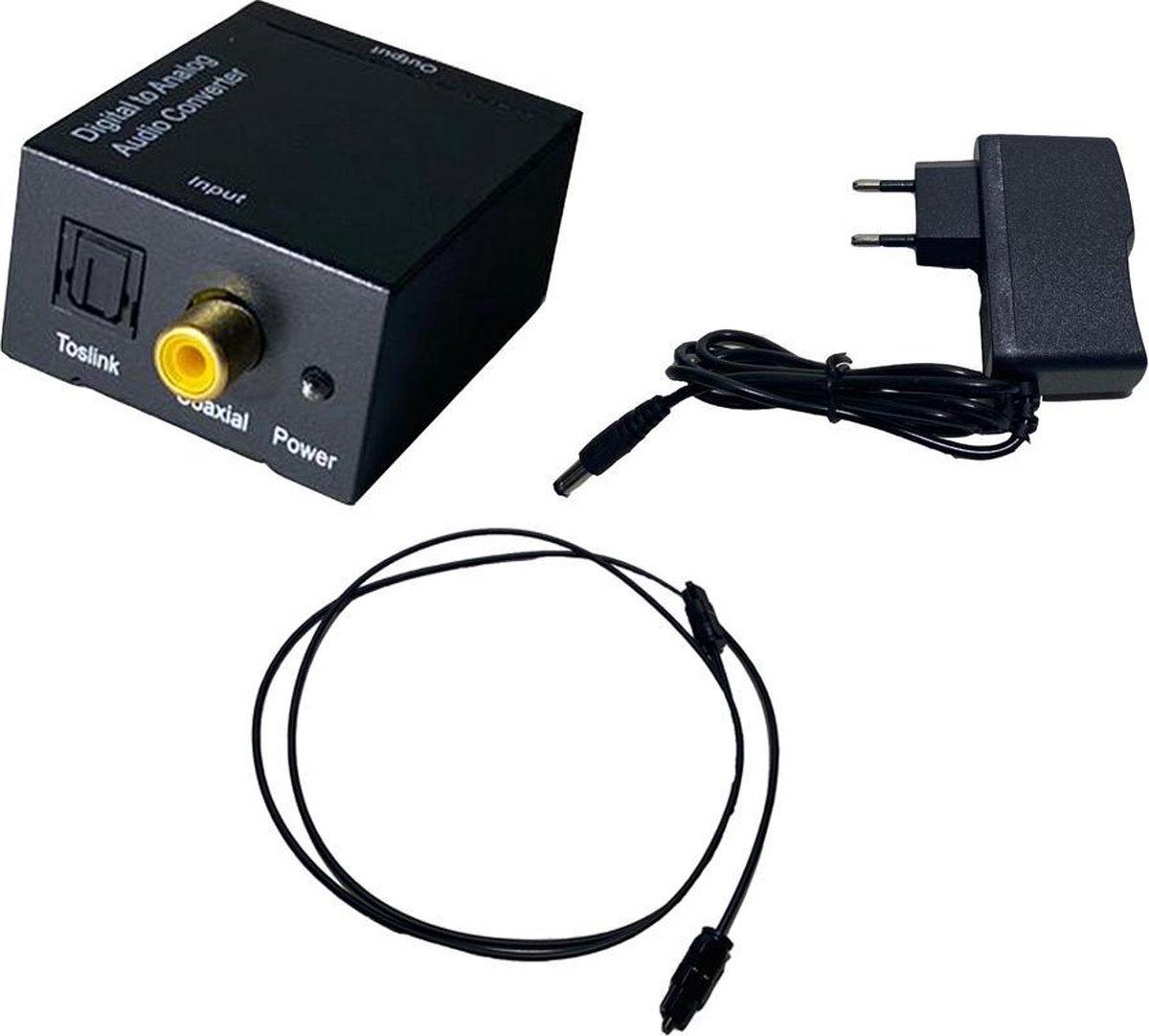 Digitaal naar analoog audio converter/omvormer, inclusief kabels,toslink,voeding