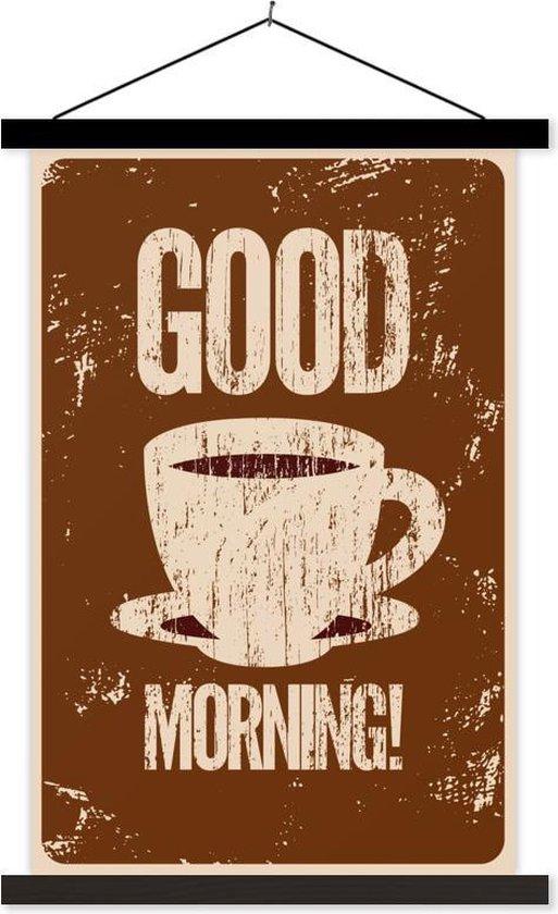 Good morning koffie vintage illustratie 60x90 cm
