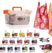 Rose Z's Eco Tie Dye Kit | 15 kleuren + 6 stiften | Inclusief e-book met unieke patronen voor artistieke inspiratie
