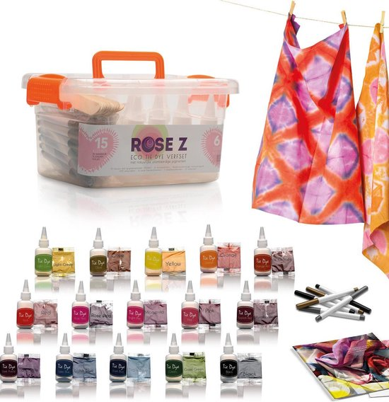 Afbeelding van Rose Zs Eco Tie Dye Kit | 15 kleuren + 6 stiften | Inclusief e-book met unieke patronen voor artistieke inspiratie speelgoed