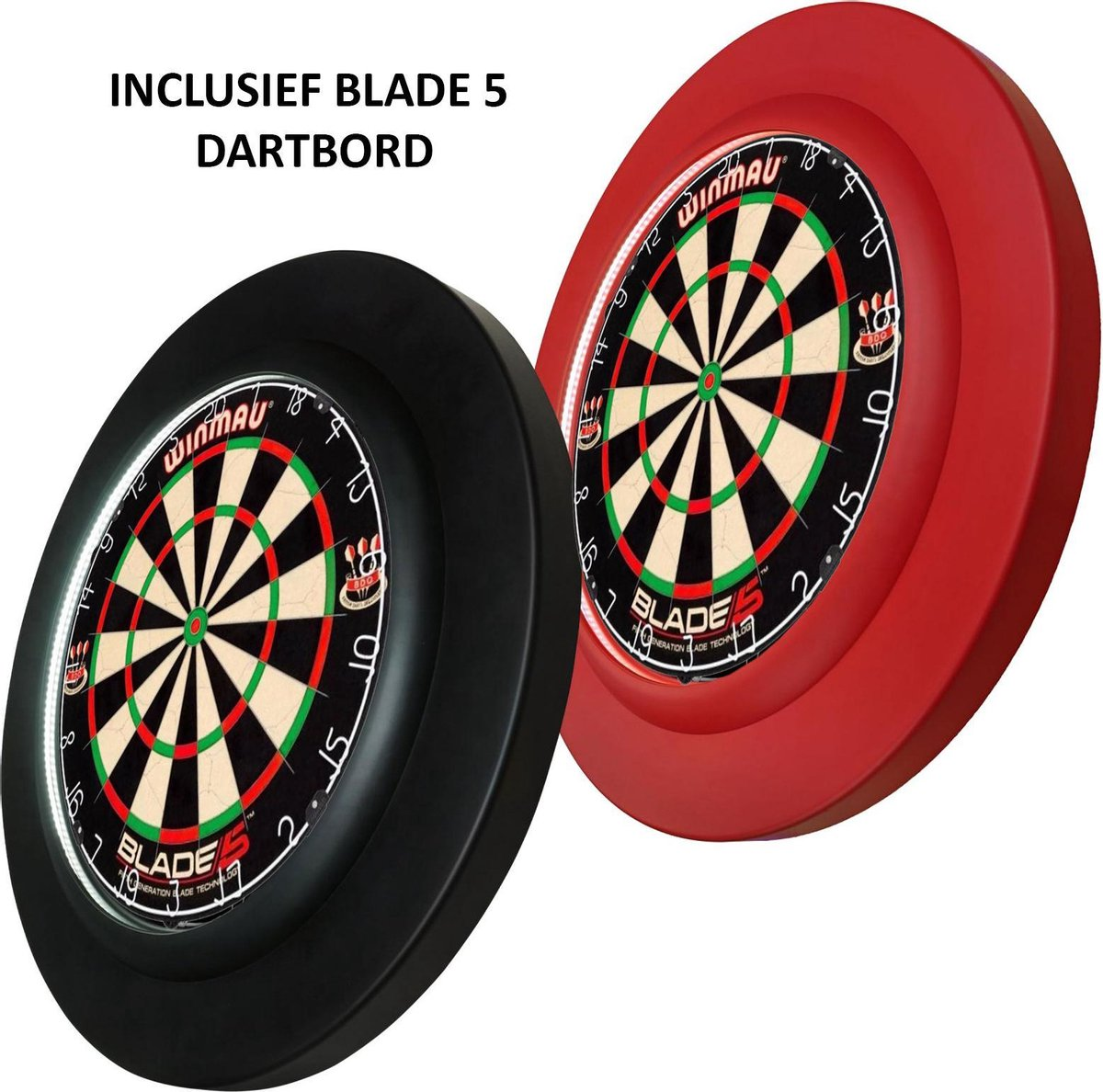 Dragon darts PU rubber LED Lightning surround ring - inclusief Winmau Blade 5 - rood