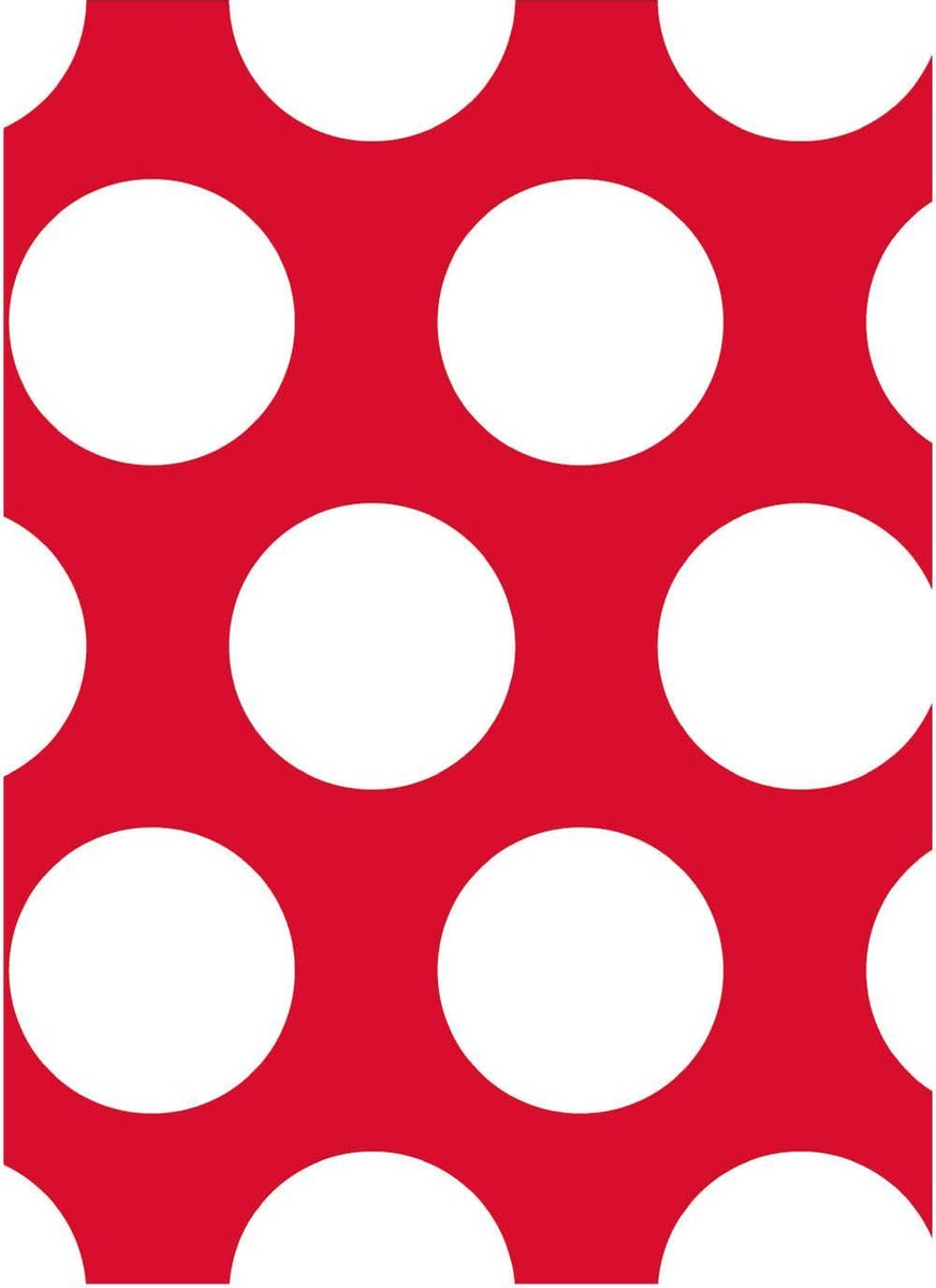 A4 - Notitieboek - Polkadots - Rood - Wit - Softcover - Elastiek - 50 gr - 100 pagina - Gelijnd - Werk - Studie - Dagboek