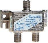 Technetix 2-weg F-splitter - coax splitter - tv splitter - 5-1000 MHz  - ES02NKK - geschikt voor ZIGGO