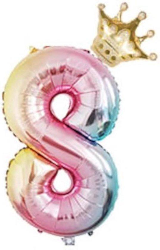 Folieballon 8 jaar MEGA cijfer 8 regenboog met gouden kroon. 81 CM voor lucht of helium gas