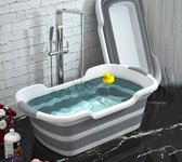 Opvouwbaar babybad premium kwaliteit: de dunste (6 cm) & als beste getest! - inklapbaar babybad - inklapbaar babybadje - opvouwbaar badje baby - grijs met wit