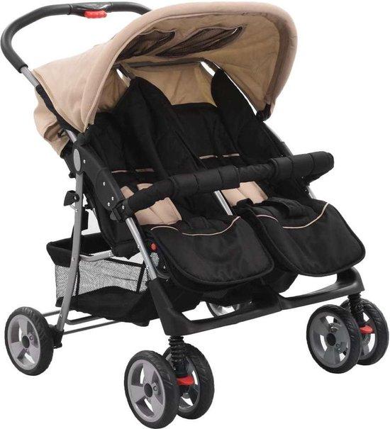 Tweeling kinderwagen Taupe en Zwart - Kinderwagen Tweeling - Tweeling Buggy - Duo Kinderwagen