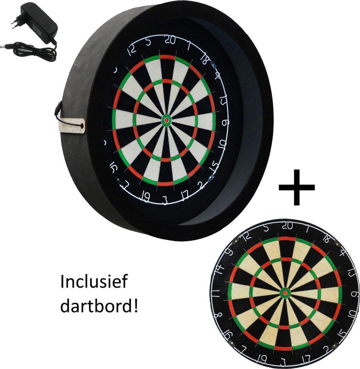 Dragon darts - dartbord verlichting - incl. dartbord - Sorpresa PRO - Zwart - dartbord berscherm ring - dartbord
