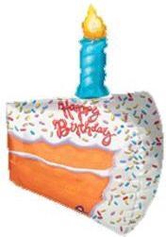 folieballon - taartpunt Happy Birthday - 3d - ca 65 cm - leeg