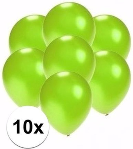Kleine metallic groene ballonnen 10x stuks - Feestartikelen/versieringen