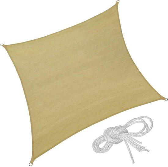 TecTake - Vierkant zonneluifel 400 x 400 x 400 cm - 402606 - Beige