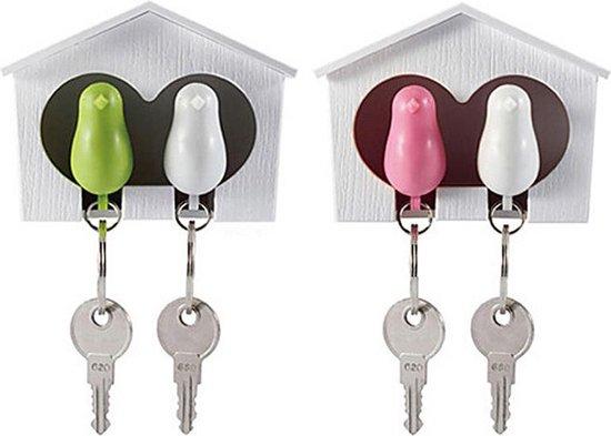 Ditto – Vogelhuis met 2 Vogel Sleutelhangers Blauw - Roze / Samenwonen Cadeau / Muurdecoratie
