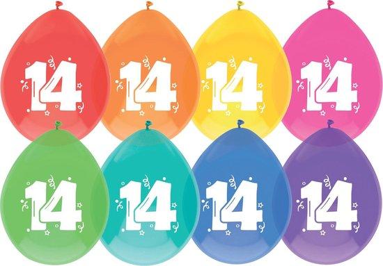 leeftijd ballonnen - 14 - 8 x diverse kleuren