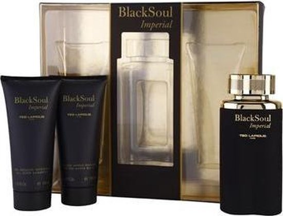 Ted Lapidus Black Soul Imperial EDT 100 ML + 100ML Aftershave Balsem + 100 ML All Over Shampoo - Ted Lapidus Black Soul
