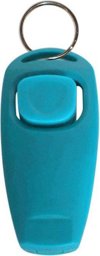 Turquoise hondenfluitje en clicker in een