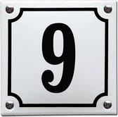 Emaille huisnummer wit/zwart nr. 9