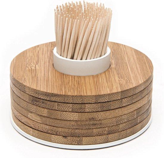 Point-Virgule Bamboo Glasonderzetters - Met tandenstokerhouder - 6 Stuks