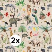 2x Inpakpapier/cadeaupapier jungle 300 x 70 cm - Cadeauverpakking kadopapier