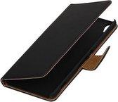 Zwart Effen booktype wallet cover - telefoonhoesje - smartphone hoesje - beschermhoes - book case - hoesje voor Xiaomi Mi 5