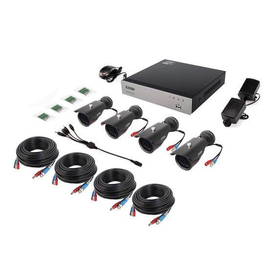720P AHD Beveiligingssysteem 8CH HDMI DVR Recorder met 4 x 1.0MP HD Dag Nacht Beveiligingscamera's voor binnen en buiten - 40M nachtzicht - NO HDD - Zwart