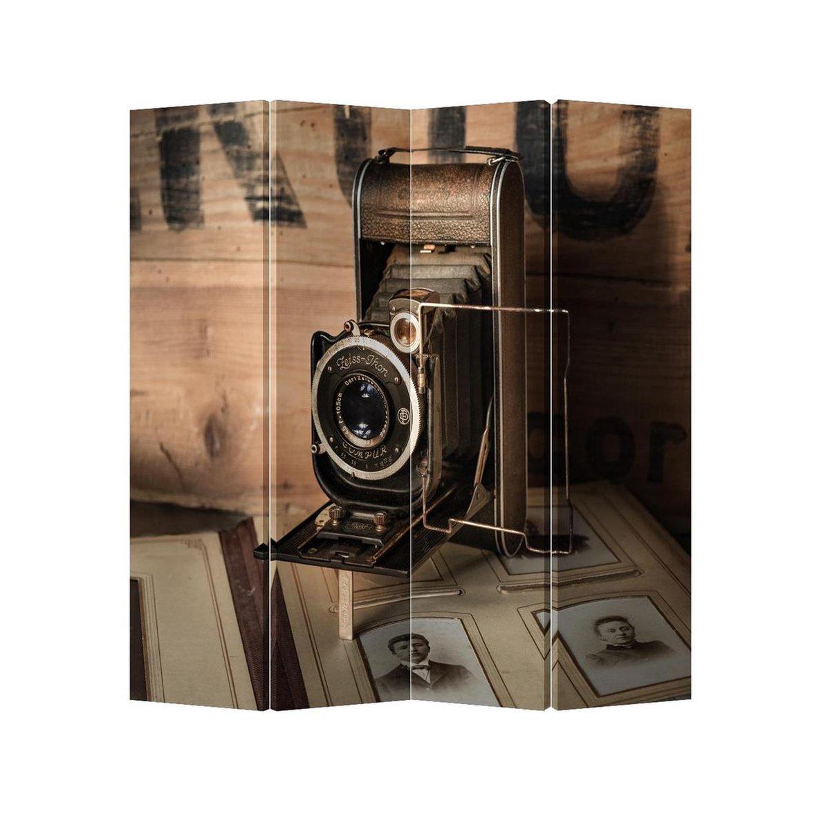 Orientique Kamerscherm 4 Panelen Vintage Camera Canvas Room Divider - Orientique