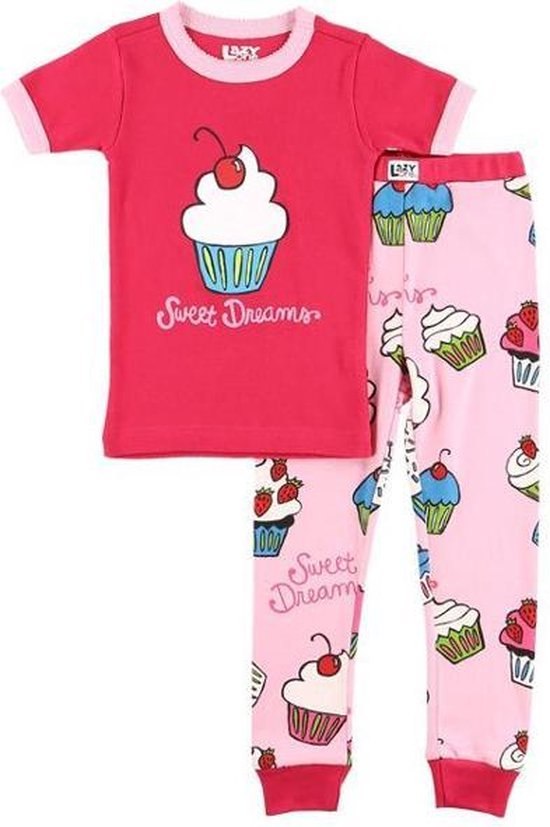 Kinderpyjama Sweet Dreams Cupcake roze met bedrukte broek - 92