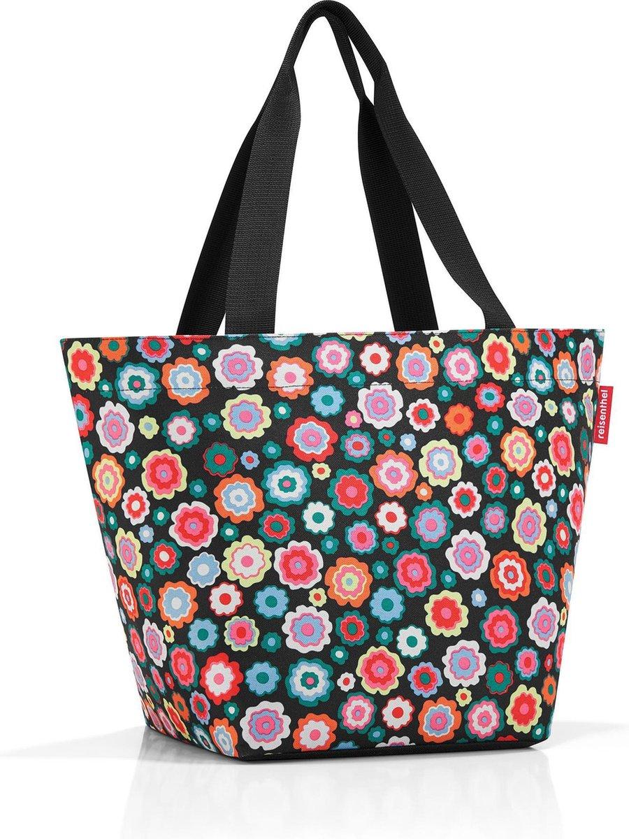 Reisenthel Shopper M Handtas Shopper - Maat M - 15L - Happy Flowers Zwart
