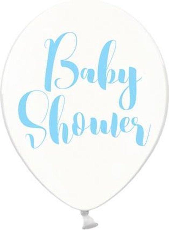 Ballonnen clear Babyshower blauw 50 stuks