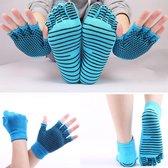 Yoga sokken en handschoenen blauw - Antislip - One size