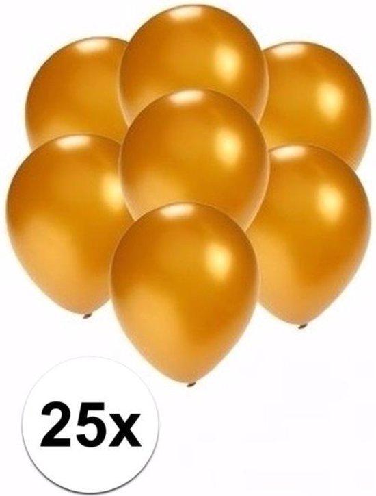 25x stuks Kleine mini metallic gouden ballonnen/ballonetjes van 13 cm - Feestartikelen/versiering