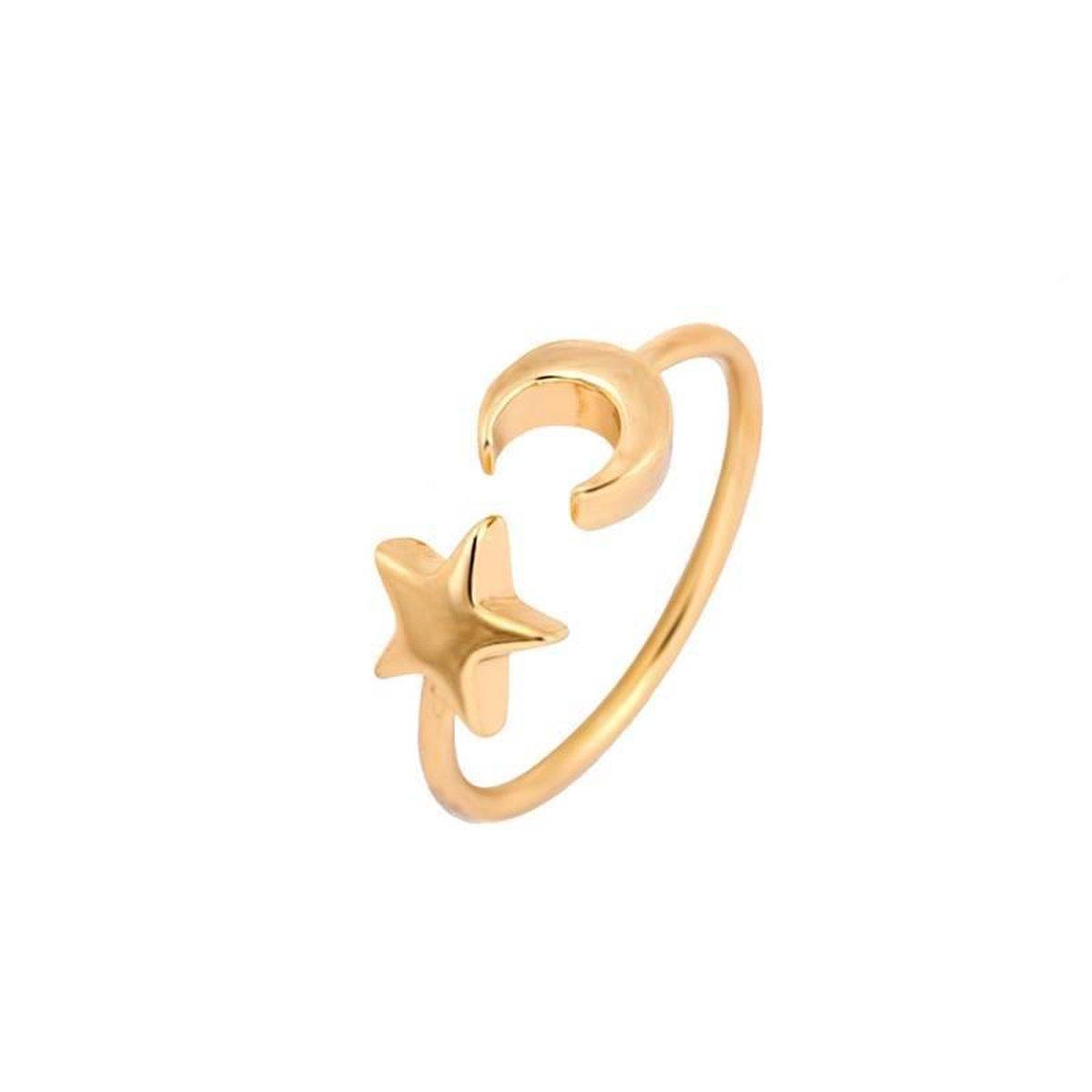 Lovelymusthaves Moon star - maan ster boho bohemian style verstelbare Ring - Dames - zilverkleurig - Lovelymusthaves