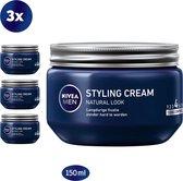 NIVEA MEN Styling Cream Haargel - Gel - 3 x 150 ml - Voordeelverpakking