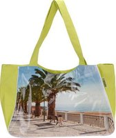 Strandtas/ shopper gele strandstoel