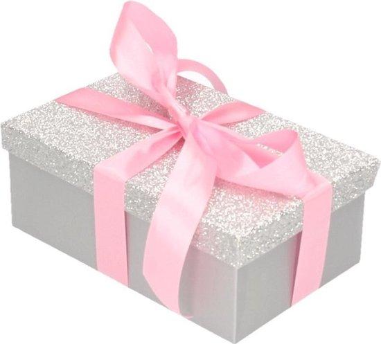Cadeau gift box set - zilver glitter cadeaudoosje 17 x 11 cm en roze kadolint - kadodoosjes / cadeauverpakking