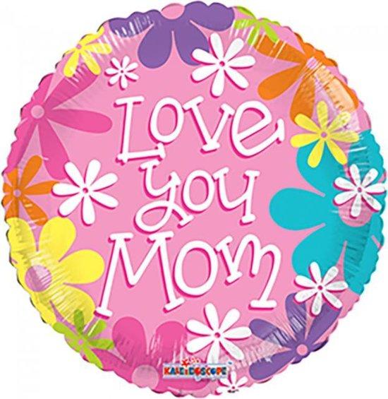 Folie ballon love you mom 46 cm doorsnee
