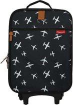 Kidzroom Black & White Reiskoffer - 40x30x14 cm - Zwart - Planes