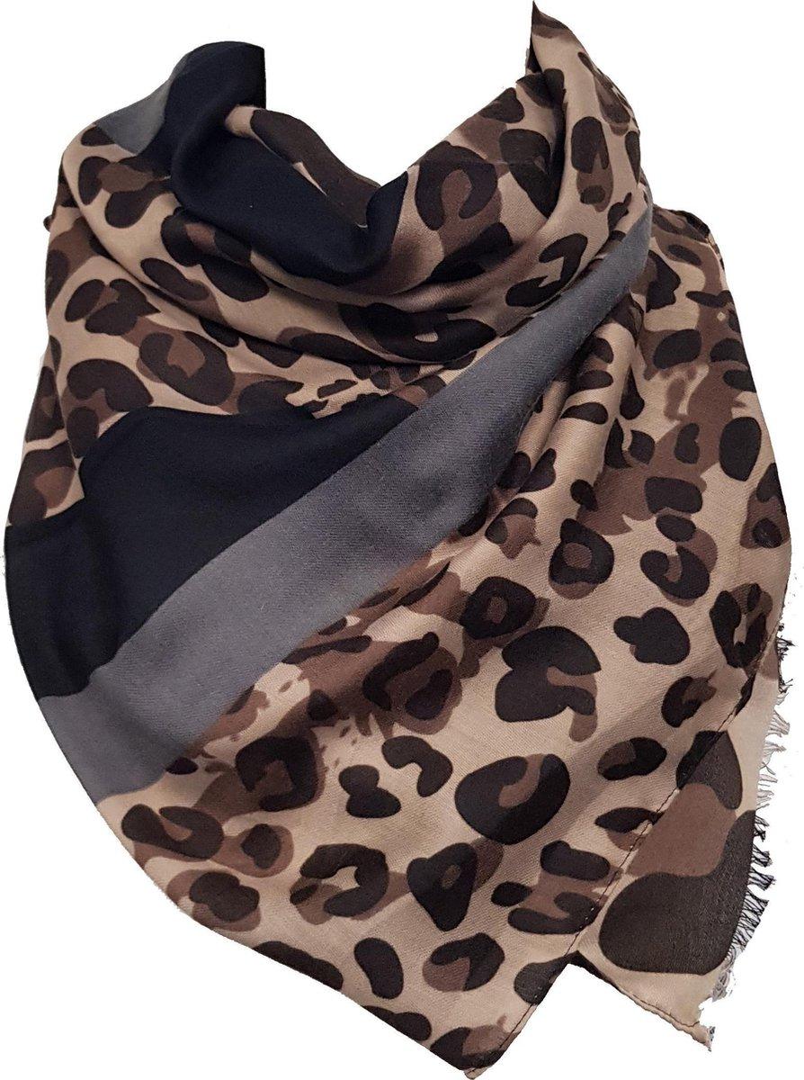 Dames sjaal met panterprint, luipaardprint, Lange damessjaal met dierenprint (panter) van 190 x 90 cm - perfect voor de herfst / lente / zomer - RT Fashion