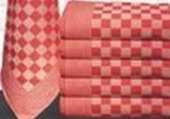 Treb Horecalinnen Theedoeken - 70x70 cm - Rood en Wit Geblokt - Katoen - 12 stuks