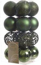 16x Donkergroene kunststof kerstballen 6 cm - Mix - Onbreekbare plastic kerstballen - Kerstboomversiering donkergroen