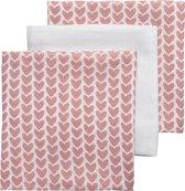 Meyco 3-pack Hydrofiele luiers - Knitted Heart/Uni wit/Knitted Heart