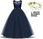 Communie jurk Bruidsmeisjes jurk bruidsjurk donker blauw 146-152 (150) prinsessen jurk feestjurk + bloemenkrans