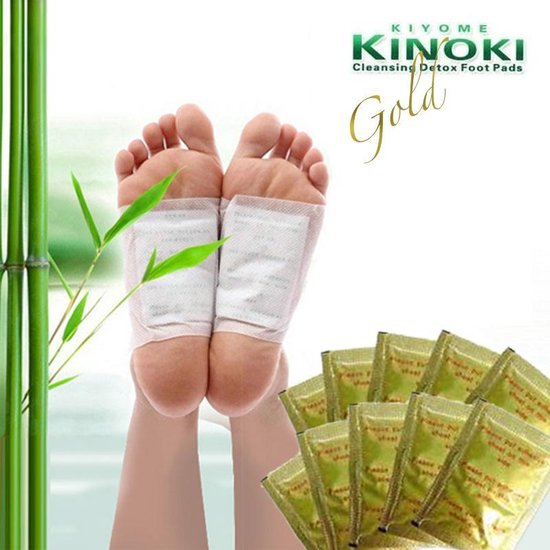 Detox voetpleisters NEW GOLD + GEMBER EXTRACT - KINOKI - Detox foot patch - Ontgiftingspleister - Ontgiften - Heat Pad