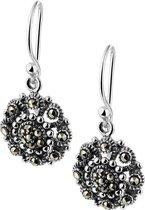 The Jewelry Collection Oorhangers Oxi Marcasiet - Zilver Geoxideerd