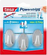 Tesa Powerstrips Haken Ovaal Small - Mat Chroom - 3 Stuks