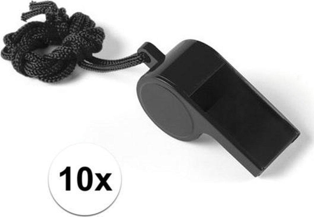 10 Stuks zwarte sportfluitjes aan koord - Merkloos