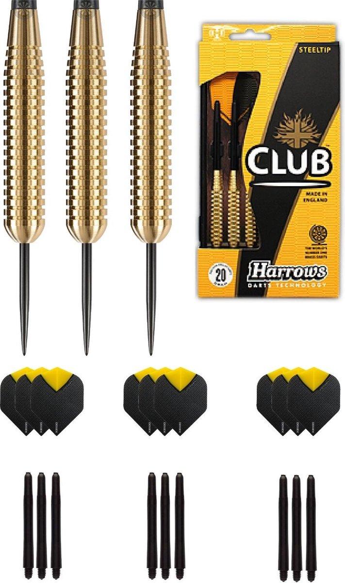Harrows - Club Brass 100% Ringed Brass darts met 9 - dartshafts - en 9 - dartflights - 23 gram - dartpijlen